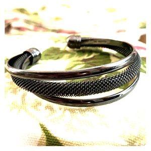 Vintage Lia Sophia hematite bangle bracelet!